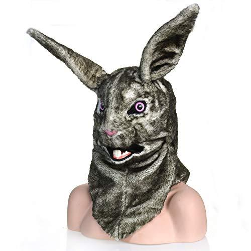 Kaninchen Kopf Kostüm - Hochwertige langlebige Dress Up Maske Persönlichkeit Tiermasken Graues Kaninchen Beweglicher Mund Kunstpelz Kostüm Maske Kopf Hals Tiermasken Beliebte Spielemaske (Color : Grey)