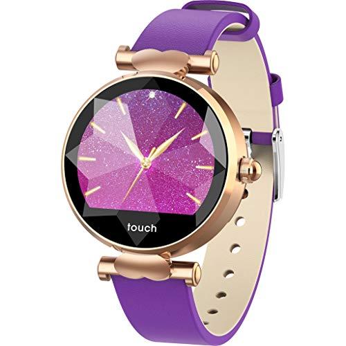 LQIAN Smartwatch, J2 Damen Fitness Tracker Uhr Armband Sportuhr, IP67 Bluetooth Blutdruck & Herzfrequenz Sport Smart Watch Armband Benachrichtigung Kompatibel mit IOS und Android (Lila)