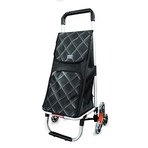 XINGPING-HOME Aluminiumlegierungsbeutel-Auto-Klettern-Einkaufswagen-Einkaufswagen-Alter Mann-Wagen-Wagen-Kinderwagen-Wagen-Gepäckwagen (Farbe : Six Rounds Black)