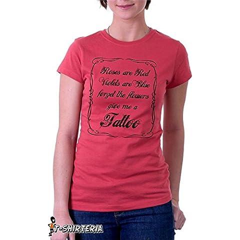 T-shirt - Roses - Violets - Flowers & tattoo - tutte le taglie uomo donna maglietta by tshirteria
