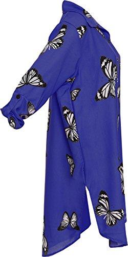 Wearall - Damen Plus Schmetterling Druck Hemd Damen Schaltfläche Kragen Seite Schlitz Gebogen Saum Top - 44-56 Königsblau