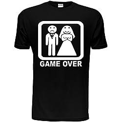 Game Over Divertente t-shirt per feste di addio al celibato, matrimonio da uomo, taglia S-XXL Black X-Large