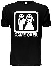 Idea Regalo - Game Over Divertente t-shirt per feste di addio al celibato, matrimonio da uomo, taglia S-XXL Black Medium