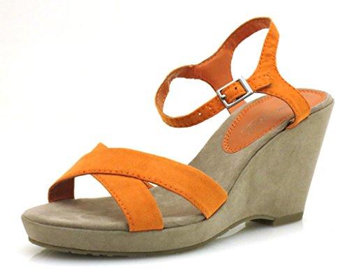 Marco tozzi chaussures wedge sandales chaussures pour femme Orange - Orange
