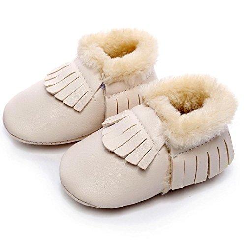 OverDose Unisex-Baby weiche warme Sohle Leder / Baumwolle Schuhe Infant Jungen-Mädchen-Kleinkind -Schuhe 0-6 Monate 6-12 Monate 12-18 Monate Beige2-PU Leater