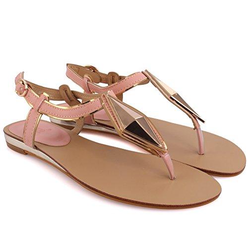 Unze Nuove donne 'Jetsam' infradito metallo Particolare estate Beach Party Get Together Carnevale sandali piana casuale Sling-indietro scarpe UK Size 3-8 Rosa