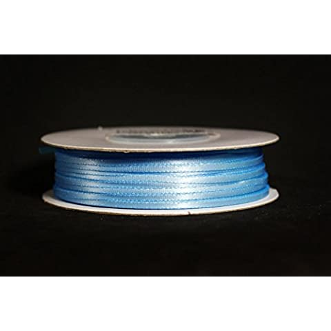 Made in Taiwan Double Face Satin Ribbon Polyester 100yrds Spool 1/8 Blue Mist by CalCastle