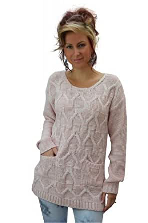 Womens Chunky Cable Knitted 2 Pocket Jumper Sweater (M/L (12-14), PINK)