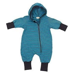 Lilakind Mono para bebé, Mono con Capucha, Jersey de Rayas de Color Azul petróleo, Talla 56/62-116/122 – Fabricado en… 3