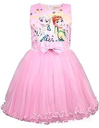 Vestidos para niñas Chaleco Vestido sin Mangas Una línea Sundress 3-8Y Azul Rosa Rosa