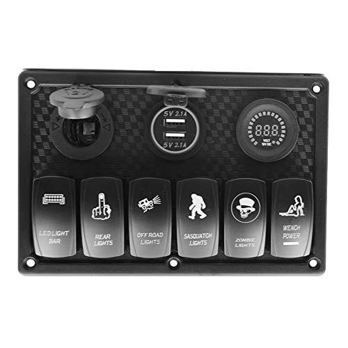 seasaleshop 6 Gang DC 12V / 24V LED Rocker Switch Panel-Schutzschalter mit Zigarette Sockel & Digital Voltmeter & Double USB Ports Ladegerät für Auto Boot