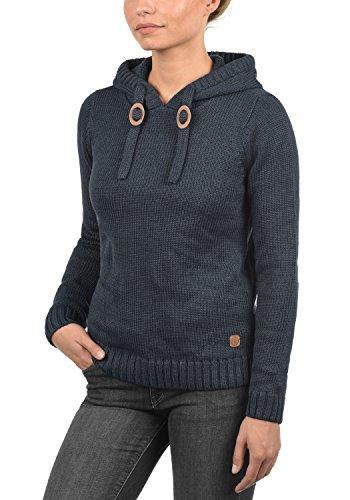 DESIRES Pita Damen Strickpullover Hoodie Grobstrick mit Kapuze aus hochwertiger Baumwollmischung Meliert Insignia Blue Melange (8991)