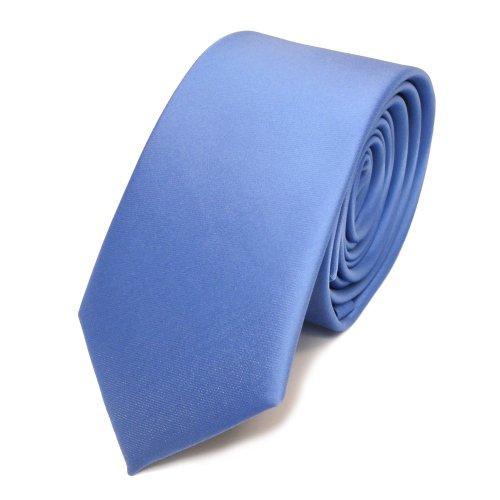 TigerTie schmale Satin Krawatte blau hellblau babyblau uni - Binder Schlips Tie Polyester