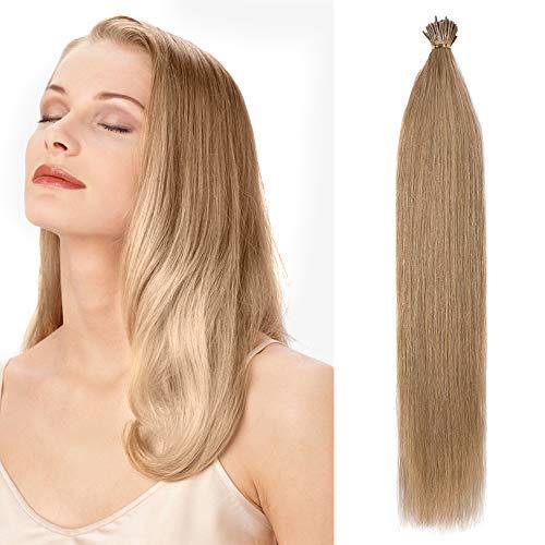 Extension capelli veri con cheratina 100 ciocche estensioni biondi i tip 50cm #27 biondo scuro - 100% remy human hair keratina lunghi lisci 50g