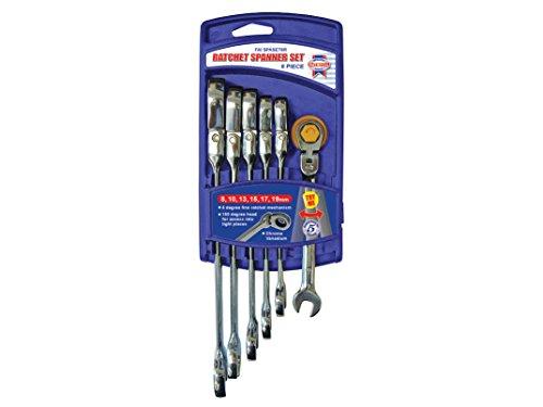 Faithfull FAISPARAT6S - Flex testa del cricchetto chiave combinata (confezione da (Aperto A Cricchetto Wrench Set)