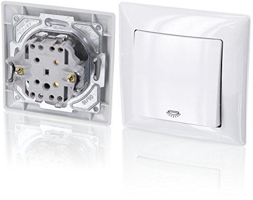 Preisvergleich Produktbild UP Taster mit Licht-Symbol - All-in-One - Rahmen + Unterputz-Einsatz + Abdeckung (Serie G1 reinweiß)
