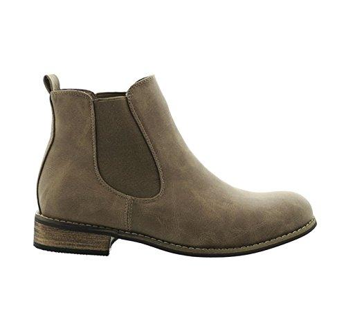 King Of Shoes Damen Chelsea Boots Stiefeletten Flache Schlupfstiefel Schuhe ZY90 (40, Khaki)