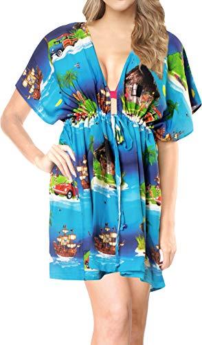 LA LEELA Costumi da Bagno Costume da Bagno di Occultamento del Bikini Natale Babbo Natale Albero di Natale Blu_A333 IT Taglia: 46 (L) - 54 (2XL)