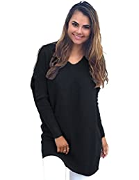 Camisetas Manga Larga Mujer Tallas Grandes Moda Blusa Cuello de Pico  Pullover Tumblr Tunica Basico Top Deportivo… f77c8e0a222