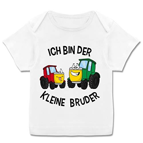 Geschwisterliebe Baby - Ich Bin der kleine Bruder Traktor - 68-74 (9 Monate) - Weiß - E110B - Kurzarm Baby-Shirt für Jungen und Mädchen