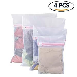 Tenn Well Wäschebeutel, Wiederverwendbare Netzbeutel für Wäsche mit Reißvverschluss Ideal für BH, Unterwäsche, Socken, Strumpfhosen, Babysachen (weiß, 4er Set)