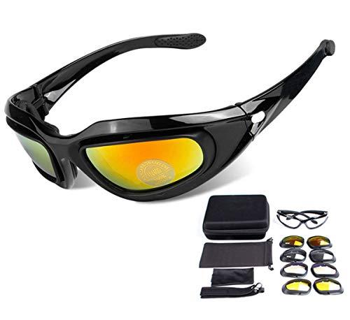 Motorradbrille, Polarisierte Sonnenbrille Tragegurt Pad 4 Wechselgläser für Damen Herren Radfahren Reiten Jagen Schießen Angeln Trekking Fallschirmspringen