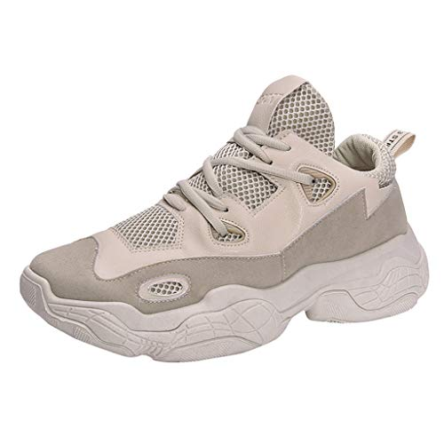 Xmiral Uomo Scarpe da Ginnastica Sportive Sneakers Running Basse Basket Sport Outdoor Fitness Respirabile Mesh 43 Beige