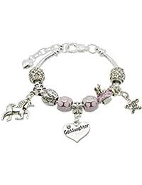 Bracelet à breloques à message et licorne avec boîte cadeau pour fille \u2013  message personnalisable au
