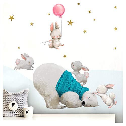 - Déco-bar (Little Deco Kinderzimmer Wandtattoo Mädchen Eisbär und Hasen mit rosa Ballon I (BxH) 74 x 40 cm I Babyzimmer Aufkleber Sticker Wandaufkleber Wandsticker Kinder DL209-8)
