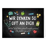 Große Grußkarte XXL (A4) Gute Besserung/Wir denken oft an DICH/mit Umschlag/Edle Design Klappkarte/Krank/Gesundheit/im Krankenhaus/Extra Groß/Edle Maxi Genesungskarte