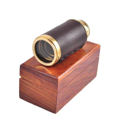 Antikes Marine-Taschenteleskop aus Messing gebunden in Leder, 15,2 cm mit Holzbox