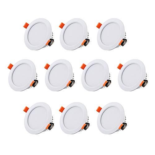 WOMAO 10 x Einbaurahmen für Halogen und LED Strahler Weiß Rund Einbaustrahler in Aluminium Ohne Leuchtmittel Nur Gehäuse Modern Stil Deckenleuchte