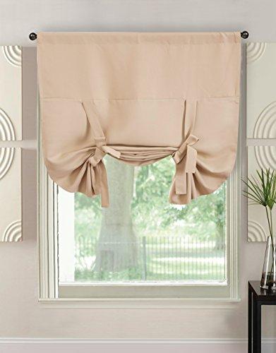 Gutgojo Raffrollos 117B×160H cm Einfarbige Raffgardine Blickdicht Vorhang mit Tunnelzug für Fenster Tür und Küche 1 Stück (Beige)