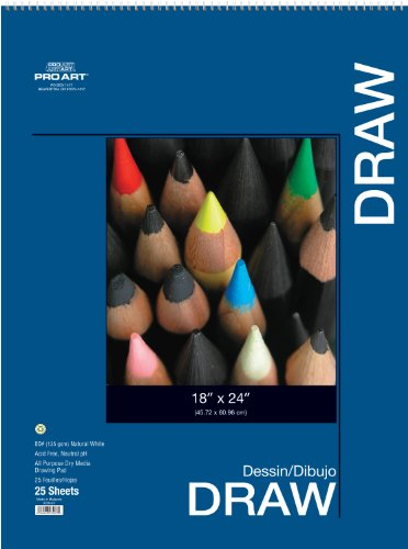 Pro-Art Zeichenblock, 22,9 x 30,5 cm 18-inch x 24-inch, 25 Sheet Wire Bound Pad (18 X Drafting-papier 24)