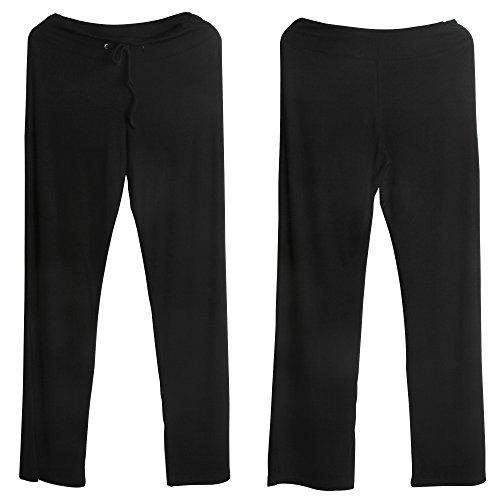 Sidiou Group Pantalon de corne de mode avec large jambe pour femmes, Pantalons confortables de Yoga, danse & sport et loisir Noir