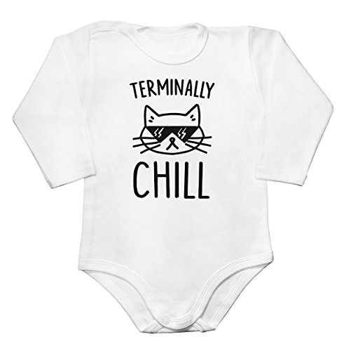 Finest Prints Terminally Chill Cool Cat with Sunglases Baby Long Sleeve Romper Bodysuit Babyspielanzug Medium (Hipster-sunglases)