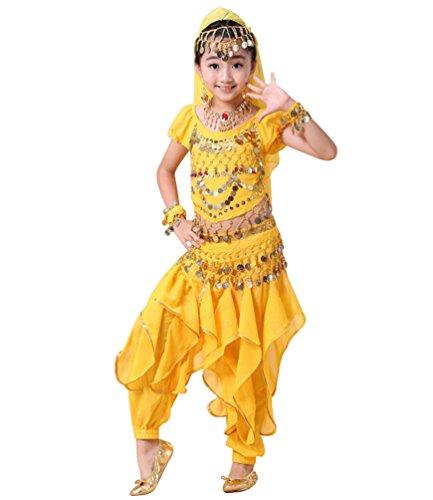 Anguang Mädchen Kostüm Mode Kinder Bauchtanz Kurzarm Top Rüschen Hosen Set Gelb#5 2XL