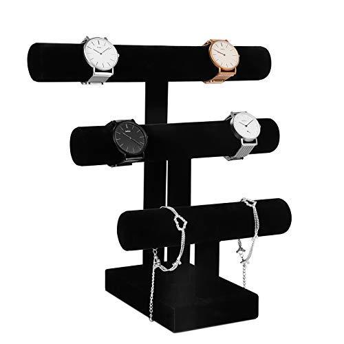Meshela Présentoir Bijoux en Velours 3 étages Porte à Bijoux Bracelet Montre Support de Présentation Noir