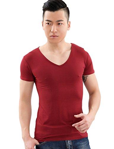 Legou Herren Modal V-Neck Kurzarm T-shirt Tee Rot wein