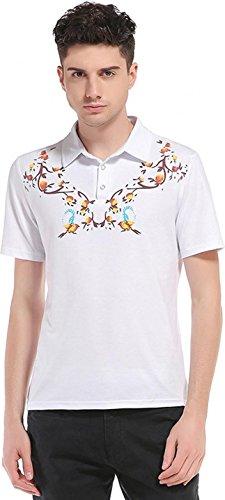 Sportides Herren Casual Dots Lapel Printing Short Sleeve Polo Shirt T_Shirt Tops JZA074 JZA082_White
