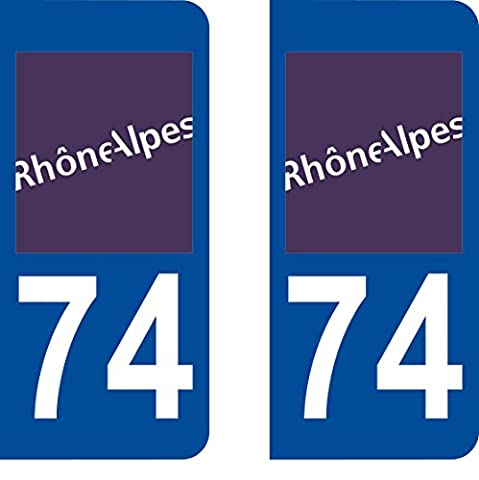 2 Stickers Autocollant style Plaque Immatriculation département 74