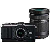 Olympus PEN E-P3 Systemkamera (12 Megapixel, 7,6 cm (3 Zoll) Display, Bildstabilisator, Full-HD Video) schwarz Kit inkl. 14-42mm und 40-150mm Objektiven schwarz