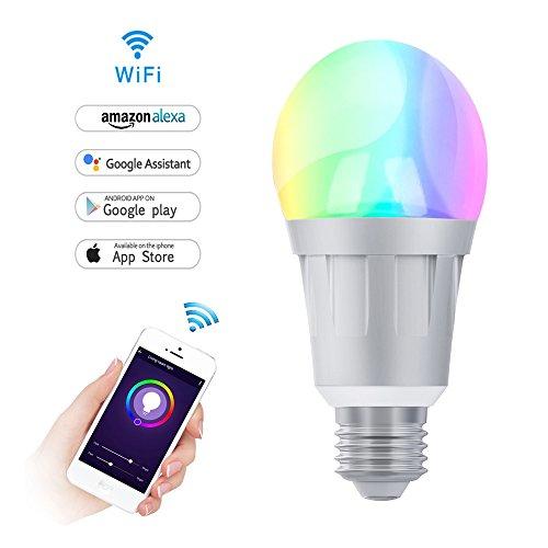 Wifi Smart Birne, Dimmbare LED Lampe 7W-E27 RGB Mehrfarbige Glühbirne Arbeiten mit Alexa und Google Home Fernbedienung von Smartphone IOS & Android