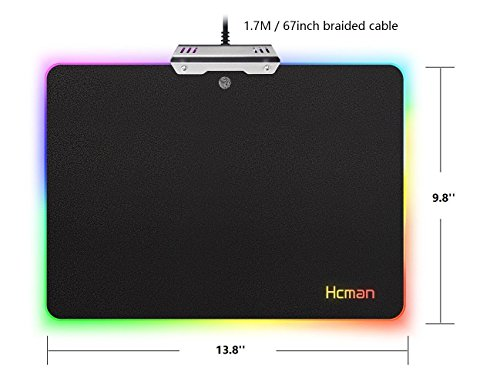 5f5beaa07fb LED RGB Gaming Mouse Pad - Hcman Lighting Hard USB Wired Colorful ...