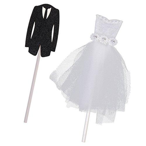 MagiDeal 2pcs Cupcake Kuchen Topper Pick Bräutigam Anzug Brautkleid Form Hochzeits Party Dekoration