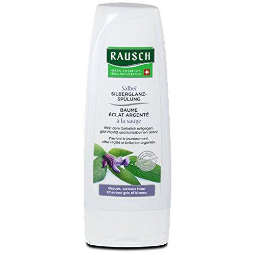 Rausch Salbei Silberglanz-Spülung (wirkt dem Gelbstich entgegen, auch ideal bei blondem Haar, ohne Silikone und Parabene - Vegan), 4er Pack (4 x 30 ml)