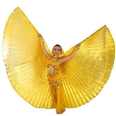 Tanzbekleidung & Accessories Isis Wings Flügel Schleier für Kinder Bauchtanz Belly Dance Kostüm Fasching Karneval Samba Tanz (Gold)