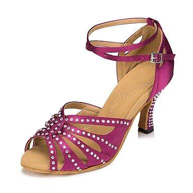 Scarpe da ballo-Da donna-Balli latino-americani / Salsa-Tacco su misura-Raso-Blu / Rosa Pink