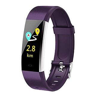 WYZBD Outdoor-Sportuhren, schickes Armband, Herzfrequenz-Blutdrucküberwachungsuhren, multifunktionale Wasserdichte Messgeräte, die von Studenten elektronisch Laufen,Purple
