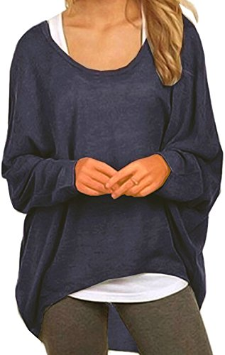 Meyison Damen Lose Asymmetrisch Sweatshirt Pullover Bluse Oberteile Oversized Tops T-Shirt Navy-L (Tunika Top)
